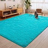ULTRUG Fluffy Area Rugs for Bedroom, Soft Shaggy Rug for Living Room, Nursery Indoor Rugs Plush Floor Carpet Non-Slip Furry Play Mat for Kids Girls Room Modern Home Decor, 5.3 x 7.5 Feet Blue