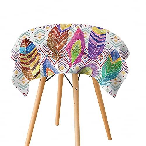 Mantel Impermeable De Impresión Digital De Poliéster Mantel De Mesa De Estilo Fresco Y Simple Patrón De Plumas Rectangulares Redondas Lavables