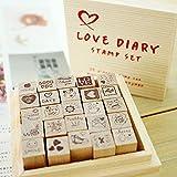 chengyida Holz Gummi Stempel Set–25Arten Korea DIY Woodiness Gummi stamp-diary Stempel Set --- Love Milchprodukte