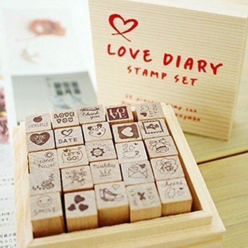 CHENGYIDA Stempel aus Holz – 25 Arten Korea DIY Woodiness Gummistempel Tagebuch Stempel-Set...