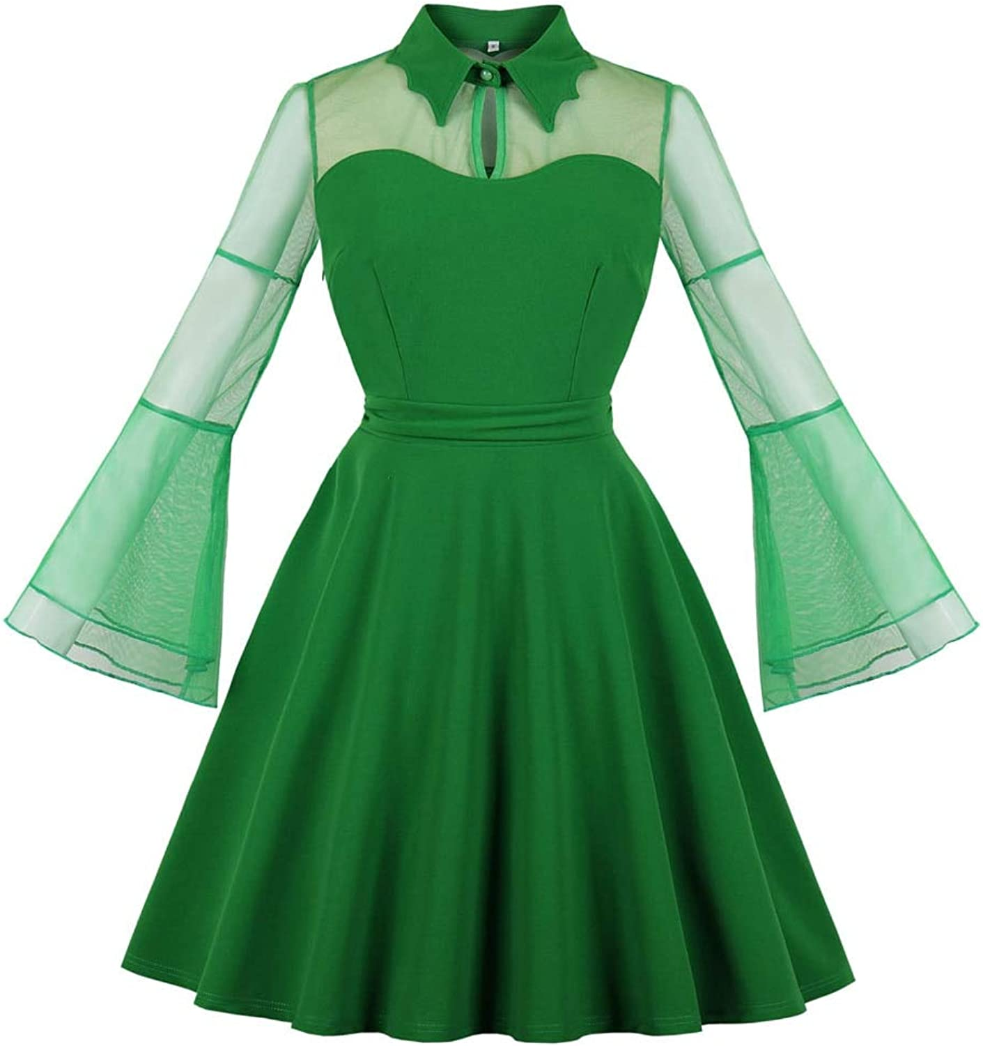 FUZHUANGHM Mesh Lace Green color See Through Retro Dress Long Flare Sleeves Vintage Women Dress Plus Size