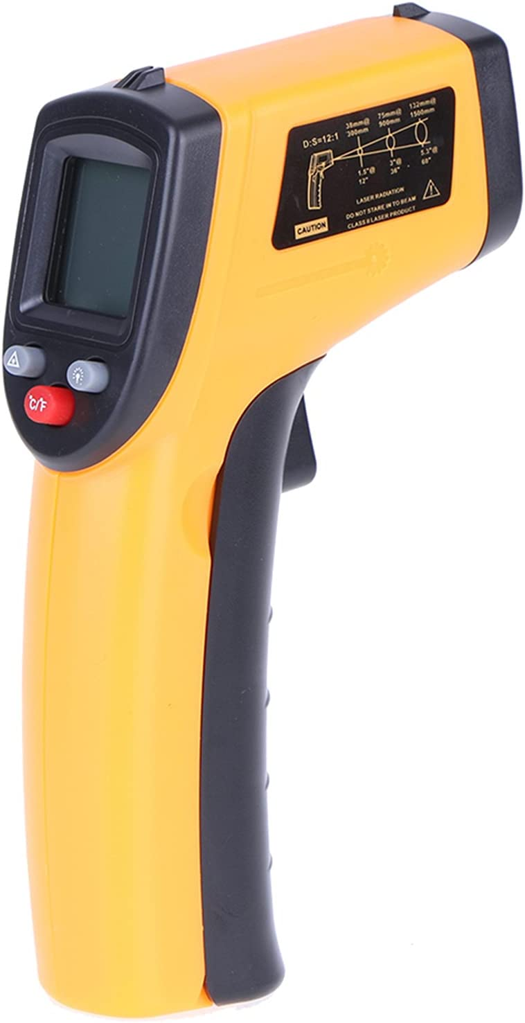 Meroteen Digital Infrared Thermometer Laser Industrial Temperature Gun Non-Contact with Backlight -50-380°C(Not for Humans) Battery Not Included