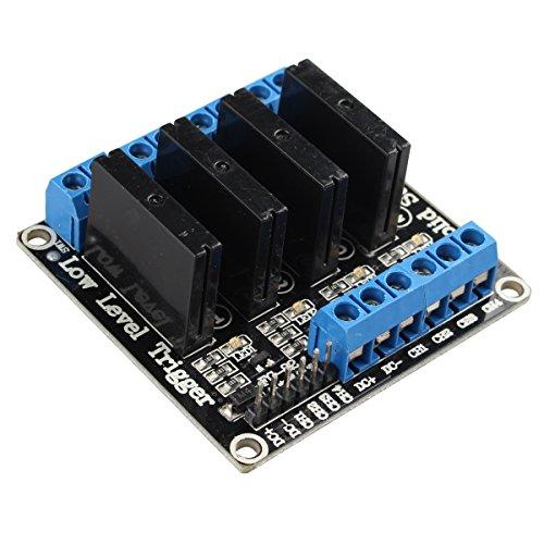 HALJIA 4 Kanal 5 V Solid State Relay Modul mit Resistiver Sicherung Kompatibel mit Arduino UNO Duemilanove Mega2560 MEGA1280 Raspberry Pi ARM DSP PIC
