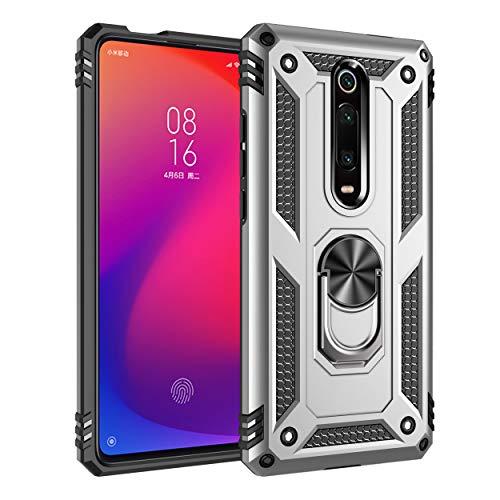 JMstore Funda Compatible con Xiaomi Mi 9T/Mi 9T Pro Anillo Soporte[Funciona con El Montaje Coche Magnético]+Protectores Pantalla(Plata)