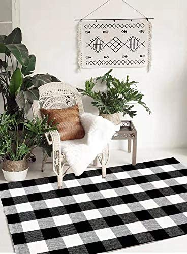 Qanahome Buffalo Plaid Check Rug Ranking TOP3 White Washable Black A surprise price is realized Woven and