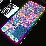 Alfombrillas de ratón City Scenery RGB Alfombrilla de ratón para Juegos Ordenador Alfombrilla de ratón Grande Retroiluminada XXL LED Gamer Desk Mat-30x80x0.4cm