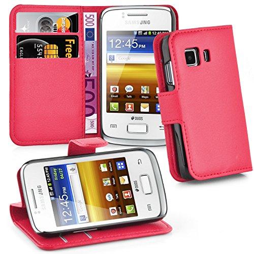 Cadorabo Hülle für Samsung Galaxy Young 2 - Hülle in Karmin ROT – Handyhülle mit Kartenfach und Standfunktion - Case Cover Schutzhülle Etui Tasche Book Klapp Style