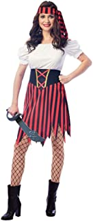 Wizland Women's Pirate Lady Costume Dress with Waist Seperate Belt,Headpiece,Without Sword