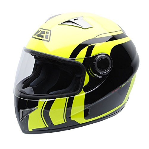 Casco amarillo de moto decorado