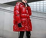 DYH&CTS Doudounes Manteau matelassé matelassée Femme Chaud épais Femmes Parkas Veste d'hiver Oversize à la Mode Brillant Capuche, Rouge, L