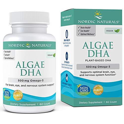 Nordic Naturals Algae DHA - Vegetarian DHA Supplement, Suitable for Vegans, Supports Brain, Eye and Nervous System Function*, 60 Count