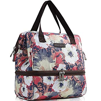 MIER Womens Lunch Box Bag Insulated Small Kids Lunch Cooler Bags Cute Leak Proof Meal Prep Lunchbox with Pockets for School Work Daytrip Double Deck Floral Anemone