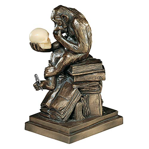 Design Toscano PD0053 Charles Darwin's Ape Human Evolution Figurine Animal Statue, Bronze