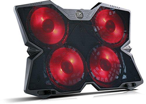 SKGAMES Notebook Laptop Kühler Gamer Kühlpad Ständer Kühlmatte Cooler Cooling Pad Unterlage für 10-17 Zoll, 4 x LED Lüfter, Schwarz