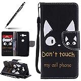 Kompatibel mit Handyhülle Sony Xperia XZ2 Compact Lederhülle Tasche Leder Flip Hülle Brieftasche Ledertasche Leder Hülle Schutzhülle Handytasche Bookstyle Klapphülle Kartenfach Magnetverschluss,Katze
