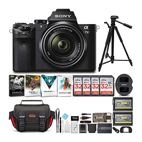 Sony Alpha a7II Mirrorless Digital Camera with 28-70mm f 3.5-5.6 Lens, Corel Software Kit, Camera Bag, 57-Inch Tripod, Rechargeable Battery and Dual Charger, 32GB SD Card, HDMI Cable Bundle (7 Items)