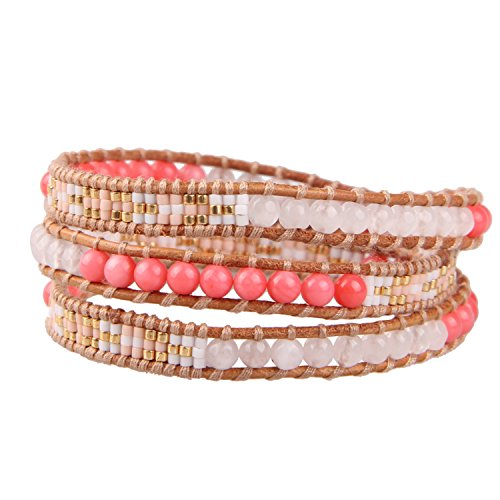 KELITCH Charm Bracelets Women Girls Pink Coral Agate Mix Seed Beaded 3 Wrap Around Bracelet Leather