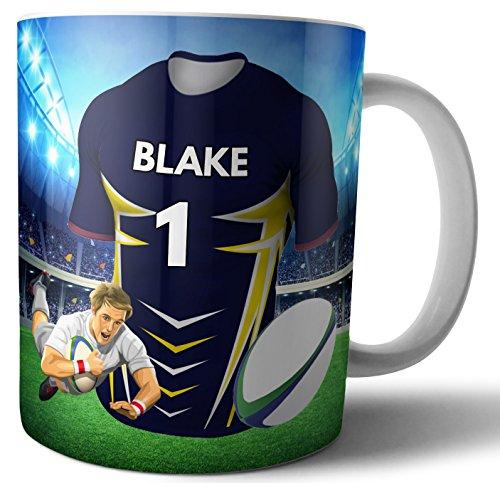 Personalisierbare Tasse für Tee, Kaffee, Rugby-Shirt, The Highlanders Farben