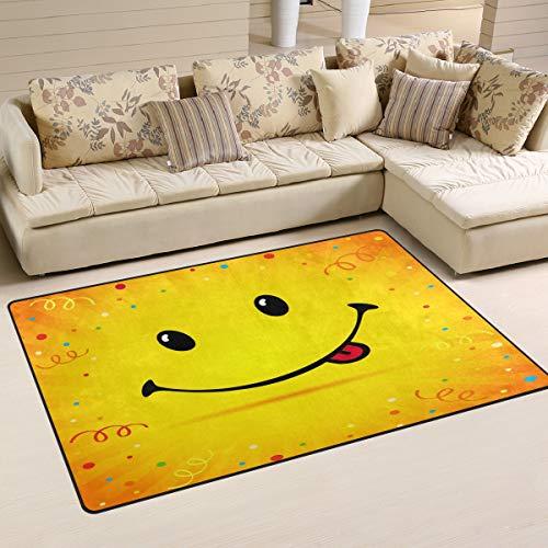 iRoad - Alfombra para sala de estar, diseño de emoticono de sonrisa, duradera, no se cae, para habitación de niños, dormitorio, alfombras modernas, 78 x 50 cm, multicolor, 60x39 in