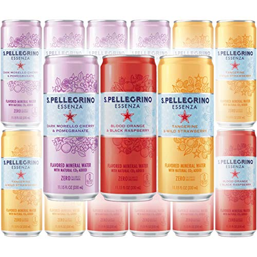 San Pellegrino Dark Morello Cherry \u0026amp; Pomegranate, Lemon \u0026amp; Lemon Zest, And Tangerine \u0026amp; Wild Strawberry - Variety Pack, 11.15 Fl Oz Can (Pack of 12, Total of 133.8 Fl Oz)