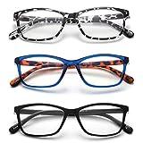 Yuluki 3 Pack Reading Glasses,Lightweight Comfortable Rectangle Readers for Men Women,Fashion Eyeglasses +3.5