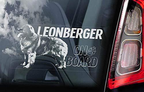 CELYCASY Leonberger on Board – Auto-Fenster-Aufkleber – Hund Schild Aufkleber Kunst Geschenk – V03