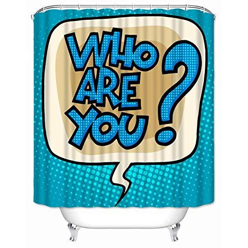 AUNMPY Cortina de la Ducha Cortina de Ducha Personalizada, diseño de cómic Pop-Art, Impermeable, Tela poliéster para el baño, Cortina de baño