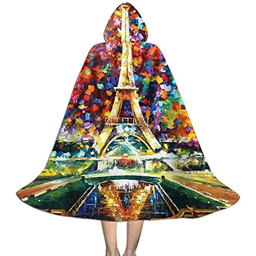 KDU Fashion Witch Cloak,Torre Eiffel Arte Disfraz De Halloween Capa Personalizada Capas De Mago para Disfraces De Mago Cosplay 138cm
