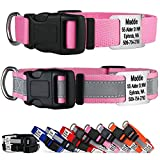 GoTags Reflective Personalized Dog Collar with...