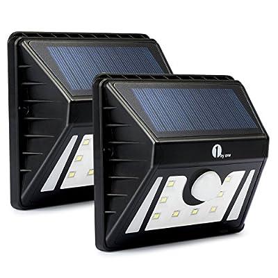 1byone Solar Motion Sensor Light, Weatherproof Outdoor Security LED Night Lighting for Pathway, Garden, Patio, Fencing,