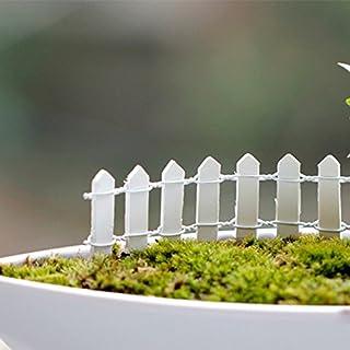 Jicorzo - 20個DIY木製の小さなフェンスモステラリウム植木鉢工芸ミニおもちゃフェアリーガーデンミニチュア[ホワイト]