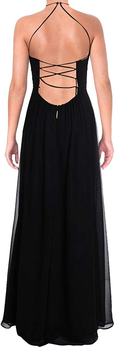 NW Nightway Womens Embroidered Lace-Up Evening Dress