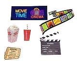 tiggersmall Movie TIME Cinema Popcorn Ticket Film Strip Soda Pop Clapboard Set of 6 Decals