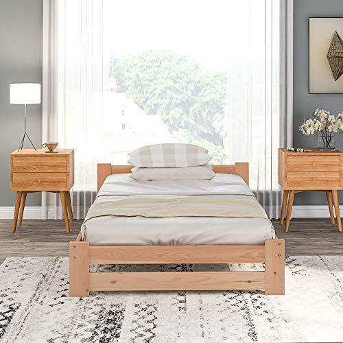 Cama futón de madera maciza natural, con cabecero y somier, color natural (madera B)