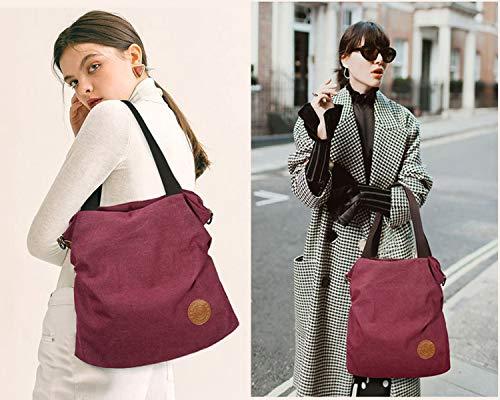 Canvas Handbag / Shoulder Bag - Vintage Hobo Top Handle,Gray