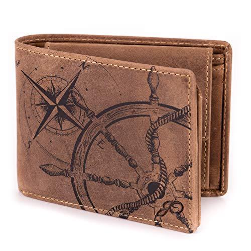 Geldbörse Leder Braun Anker Kompass Motiv Maritim - Geldbeutel naturbelassen Querformat 12,5 x 9,5 x 2,5 cm Joriginal