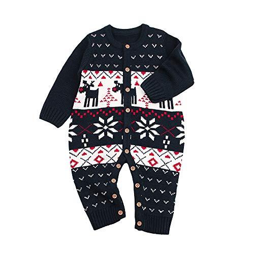 Jimmackey Neonato Unisex Maglia Pagliaccetto, Bebè Natale Cervi Stampa Maglione Tutine Body, Bambino Da 6 A 24 Mesi (Marina, 6 Mesi)