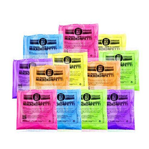 Mach Dich Bunt GmbH Mikrokonfetti - Holi Farben 12er Farbmix je 75gr. Regenbogen / Farbpulver für Festival, Party, Geburtstag und Shooting / auswaschbar bei 30 Grad aus Textilien, Haut geeignet