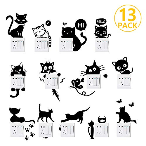 Foonii 13 PCS Pegatina pared, Interruptor Pegatina, PVC Engomada Interruptor,Familia Decoración Decorativos Decal Arte Pared Stickers Habitación Dormitorio Pared Mural Desprendible Prueba De Agua
