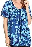 Sakkas 16780 - Laylah Lange, breite Kurze Hülsen-Stickerei-Spitze Paillette Bluse Shirt Tunika-Oberteil - Royal Blue - OS