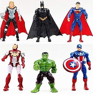 6pcs Sets Superhero Avengers Iron Man Hulk Captain America Superman Batman Action Figures Gift Collection of Children's Toys