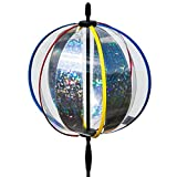 CIM Kugel Windspiel - Magic Crystal Laser - UV-beständig und wetterfest - Kugel: Ø25cm, Gesamthöhe: 100cm - inkl. Standstab, Bodendübel und Aufhängung (Laser)