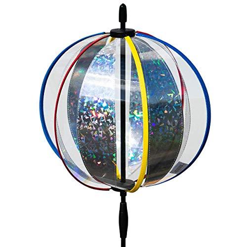 CIM Ball Wind Spinner - Magic Crystal Laser - UV-bestendig en weerbestendig - bal: Ø25cm, totale hoogte: 100cm - incl. paal, grondankers en ophanging