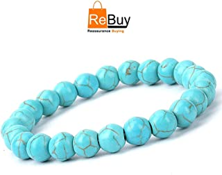 REBUY® Firoza/Turquoise Crystal Stone Healing Beaded Bracelet for Men and Women (8 mm)