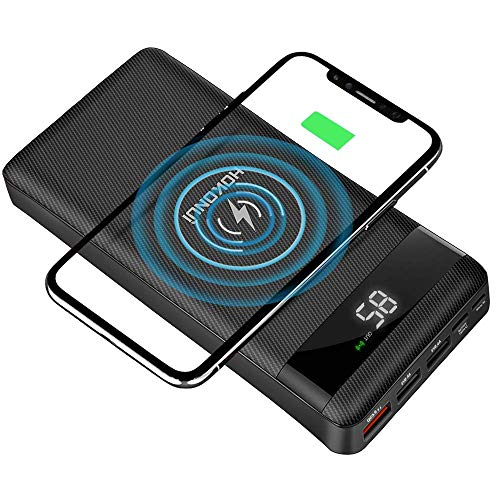 HOKONUI Wireless Portable Chargers, 10W Qi Fast Charge 20000 mAh Power Bank 5 Output USB Type-C LCD...