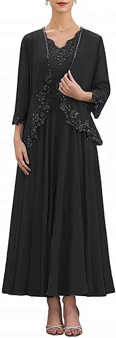 Women's Lace Applique Mother of The Bride Dresses Tea Length Beaded Chiffon Prom Evening Gowns