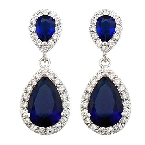 SELOVO Royal Blue Teardrop Dangle Earrings Silver Tone Sapphire Color Zircon Stone