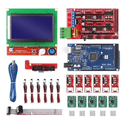 Apricot blossom Ajuste for el Kit de Impresora CNC 3D con Mega 2560 Junta, rampas 1.4 Controlador, LCD 12864, A4988 Conductor de Pasos for Arduino (Color : Red)