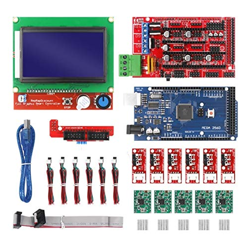 Apricot blossom Fit For CNC 3D Printer Kit With Mega 2560 Board,RAMPS 1.4 Controller,LCD 12864, A4988 Stepper Driver For Arduino (Color : Red)