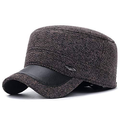 TZX Cotton Hut, Baumwolle Hüte für Männer Old warme Mütze im Freien warmen Winter Hut Einfache Und Elegante Warm Alten Hut-Schwarz/Grau/Braun,A